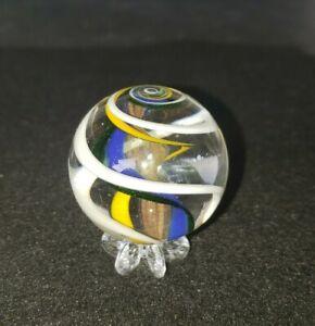 "Handmade Scott Meyer MARBLE 1 1/2""+ Lutz Ribbon Core glass Swirl Mint ECFF"