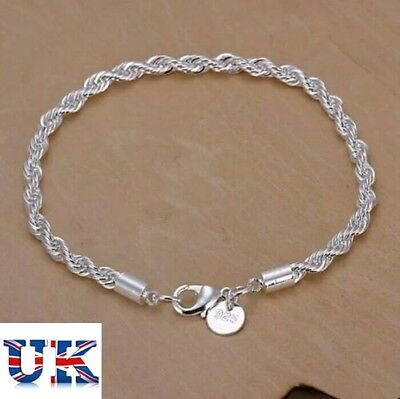 Free Gift Bag Ladies 925 Sterling Silver Twisted Rope Bracelet Thick Chain