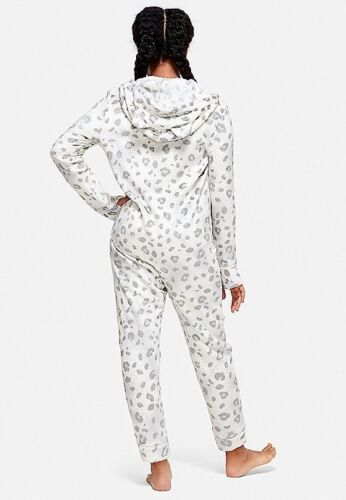 NWT Sz 18 20 Justice Girls Snow Leopard One Piece Hoodie Pajamas Union Suit