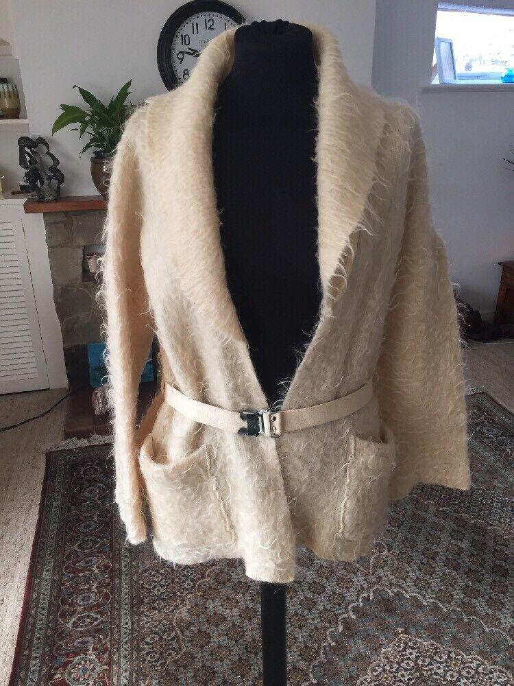 Cream Wool& Mohair Cari Bengtsson Size M Vintage Swedish Belted Jumper Top