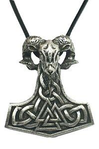 Thors-Hammer-Mjolnir-Valknut-Ram-Pendant-Viking-Heathen-Cord-Necklace