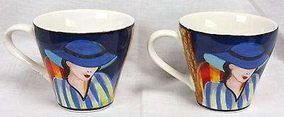 Sango Misono Cafe Paris Art Deco Coffee Cups 4914 Lady Wearing Hats Set of 2