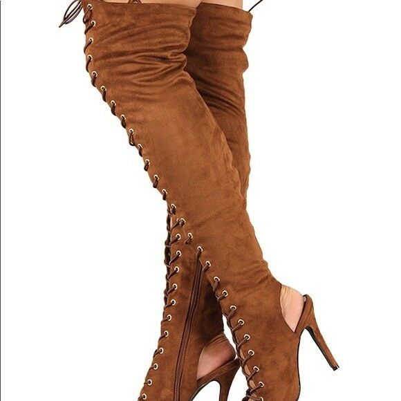 Women's Piarry Over The Knee Thigh High Heel Gladiator Lace Up Cut Out Boots