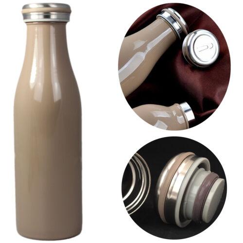 Vakuum Trinkflasche 0,5L Braun Thermosflasche Isolierflasche Wasserflasche 12Std
