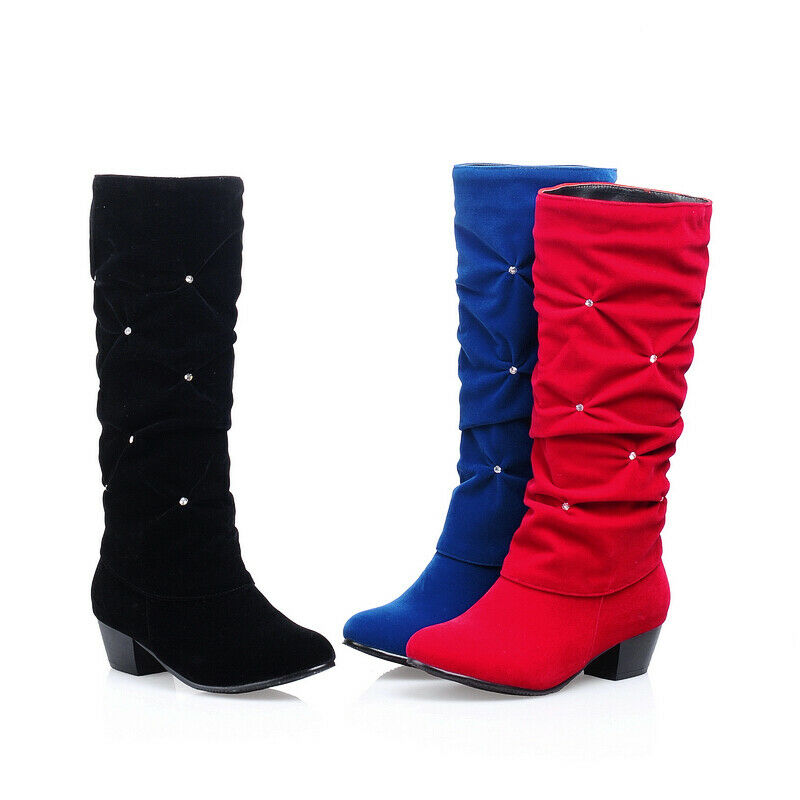 Women's Mid-Calf Boots Faux Suede Rhinestone Chunky Heel Winter Shoes Pull On