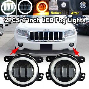 Details About For Jeep Grand Cherokee 2011 2013 4 Inch Cree Led Halo Bumper Fog Light Bulbs