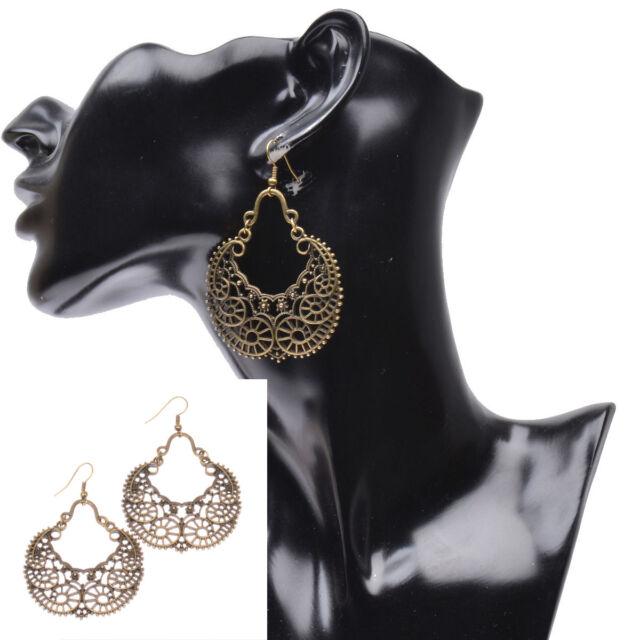 Women's Vintage Bohemian Boho Style Hollow Vine Flower Bronze Dangle Earrings