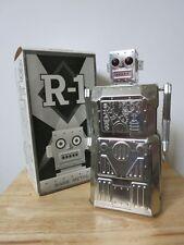 R-1 ROBOT - BARE METAL VERSION - by Rocket USA. Tin Robot Space Toy