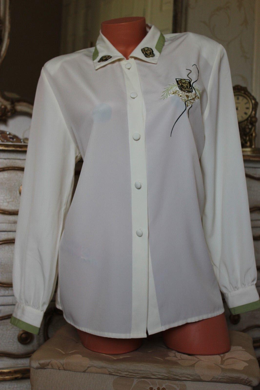 JACQUES Grün  cream Hemd blouse oben Größe 12