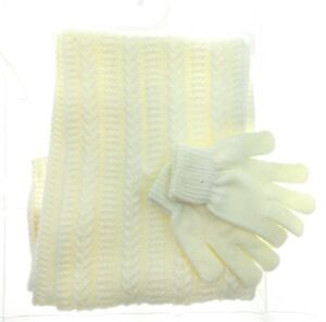 Juicy-Couture-Womens-White-Rectangle-Scarf-and-Gloves-Set-Winter-Casual-One-Size