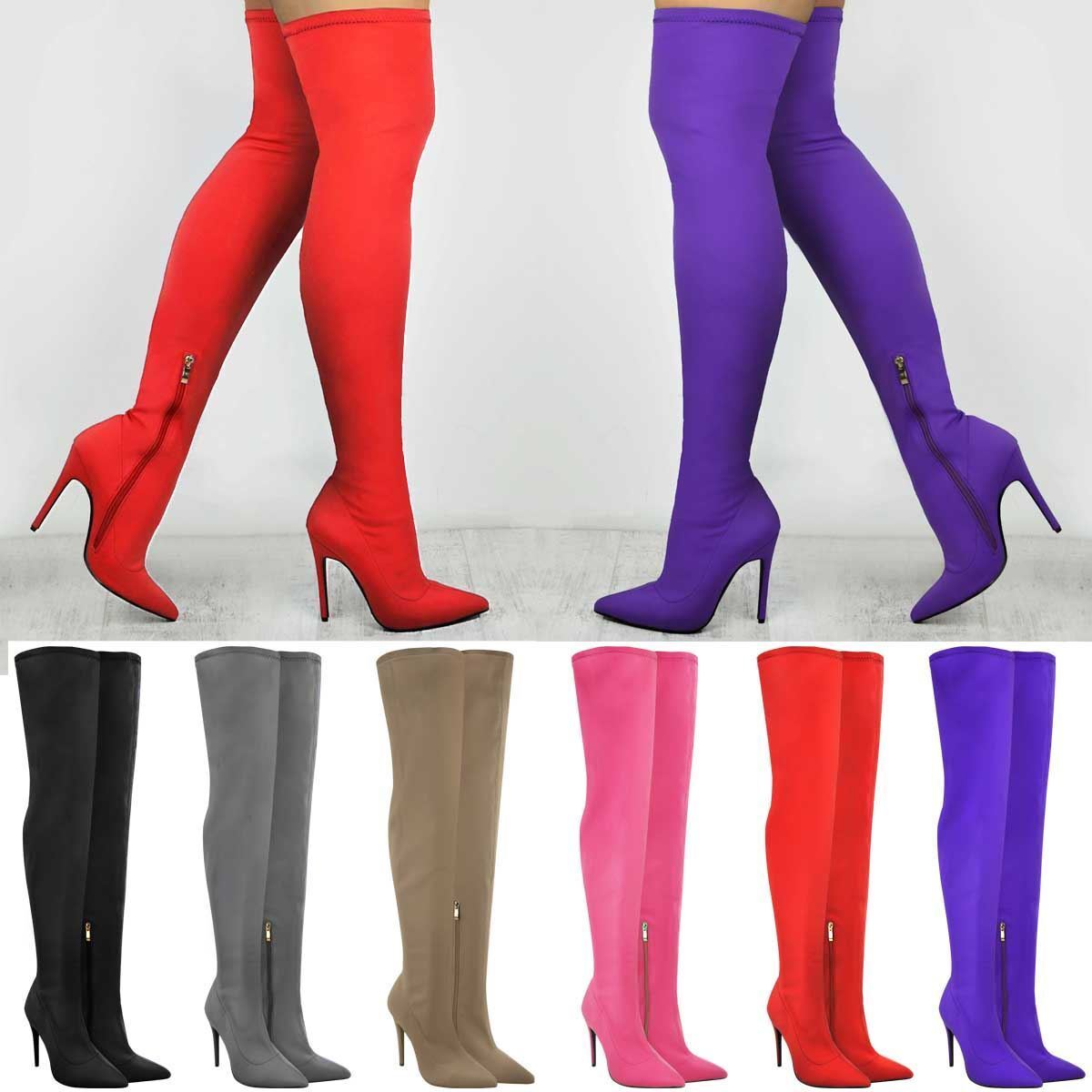 Ladies Womens Stretch Over The Knee Boots Thigh High Stiletto Heels Celeb Shoes