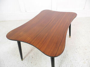 Vintage-Retro-Abstract-form-table-Mahogany-tapering-legs-50s-60s-Midcentury