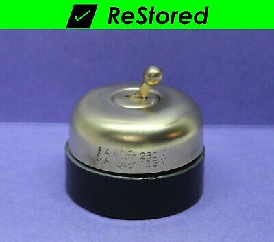 ⭐ Vintage Dome Ball Toggle Switch Hubbell Brass//Porcelain Round Single-Pole