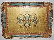 Shabby Chic florentiner Tablett Deko 60er 70er Jahre Landhaus Stil Gold Türkis