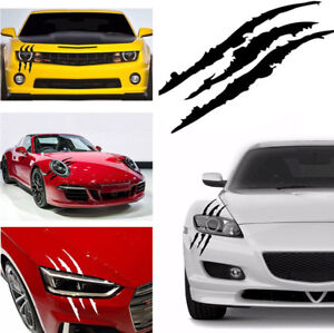 DIY Pair Black 38cm Vinyl Eye Catching Claw Marks Decal Sticker For Car Headlamp