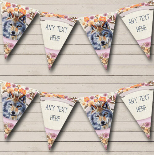 Floral Wolf Baby Shower Banner
