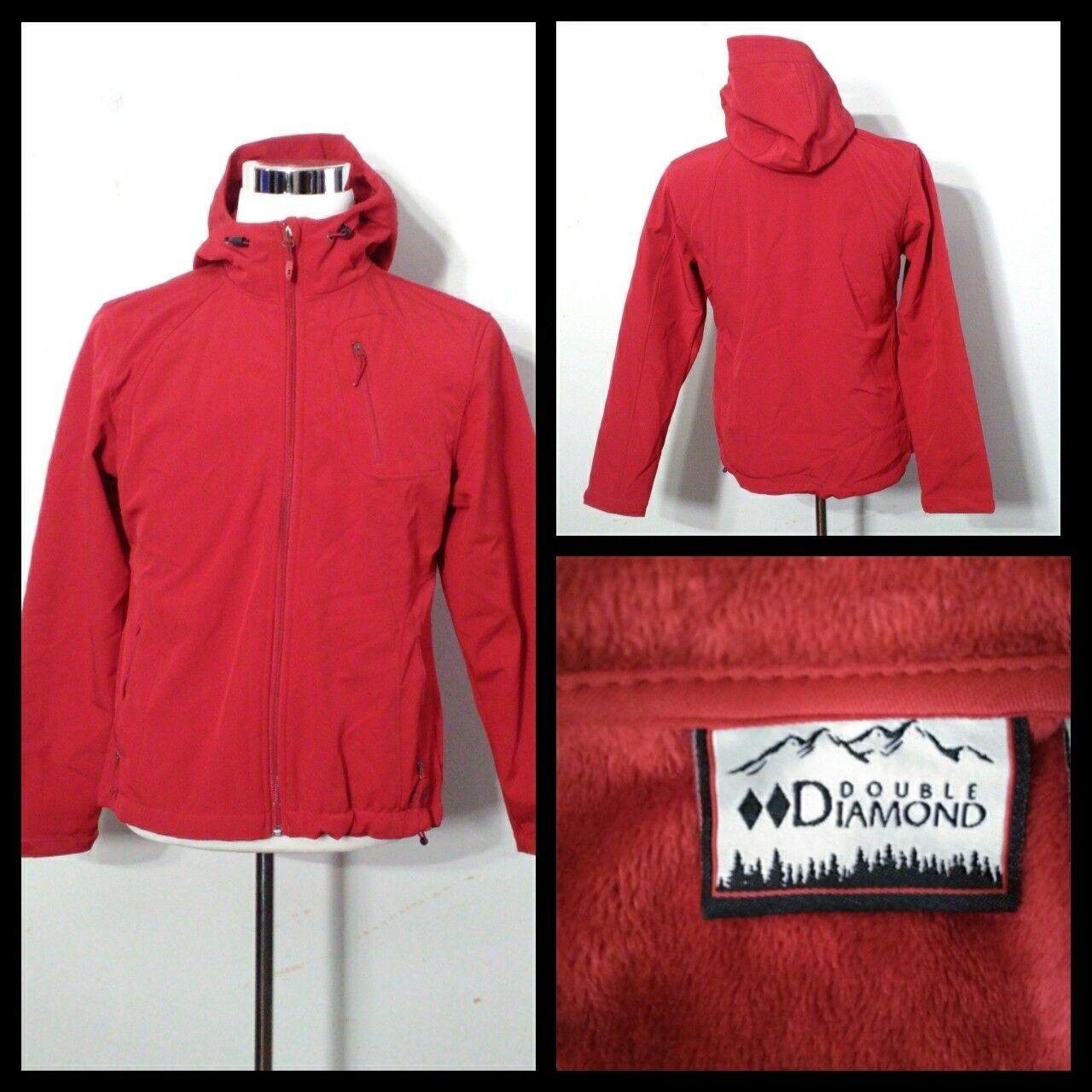 Double Diamond Coat Men's Med. Heavier Red Full Zip, Hooded Inv S8929