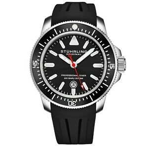 Stuhrling-Men-039-s-Maritimer-Quartz-Black-Dial-Black-Rubber-Strap-Divers-Watch