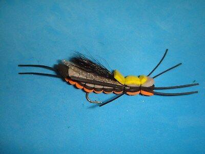 Lot 3 Custom Angler Size 6 Club Sandwich Yellow Foam Dry Fishing Flies