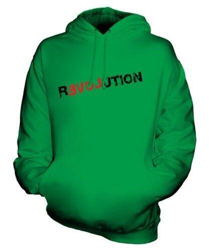 Love Revolution Unisex Stampa Moda Felpa con Cappuccio Pace Hipster Gradasso