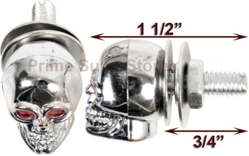 Chrome Skull License Plate Fasteners Motorcycle Chopper Car Tag Frame Screw Bolt