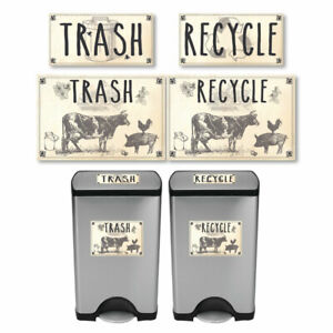 Vintage-Farmhouse-Styled-Cow-Pig-Rooster-Trash-and-Recycle-Label-Stickers