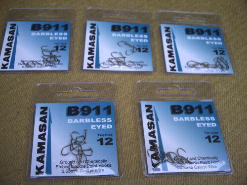 50 x B911  Barbless Eyed Hooks Size 12 Barbel /& Hair Rigs. Great for Carp