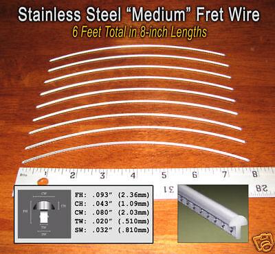 6ft jescar stainless steel medium frets fret wire for guitars more 797734821352 ebay. Black Bedroom Furniture Sets. Home Design Ideas