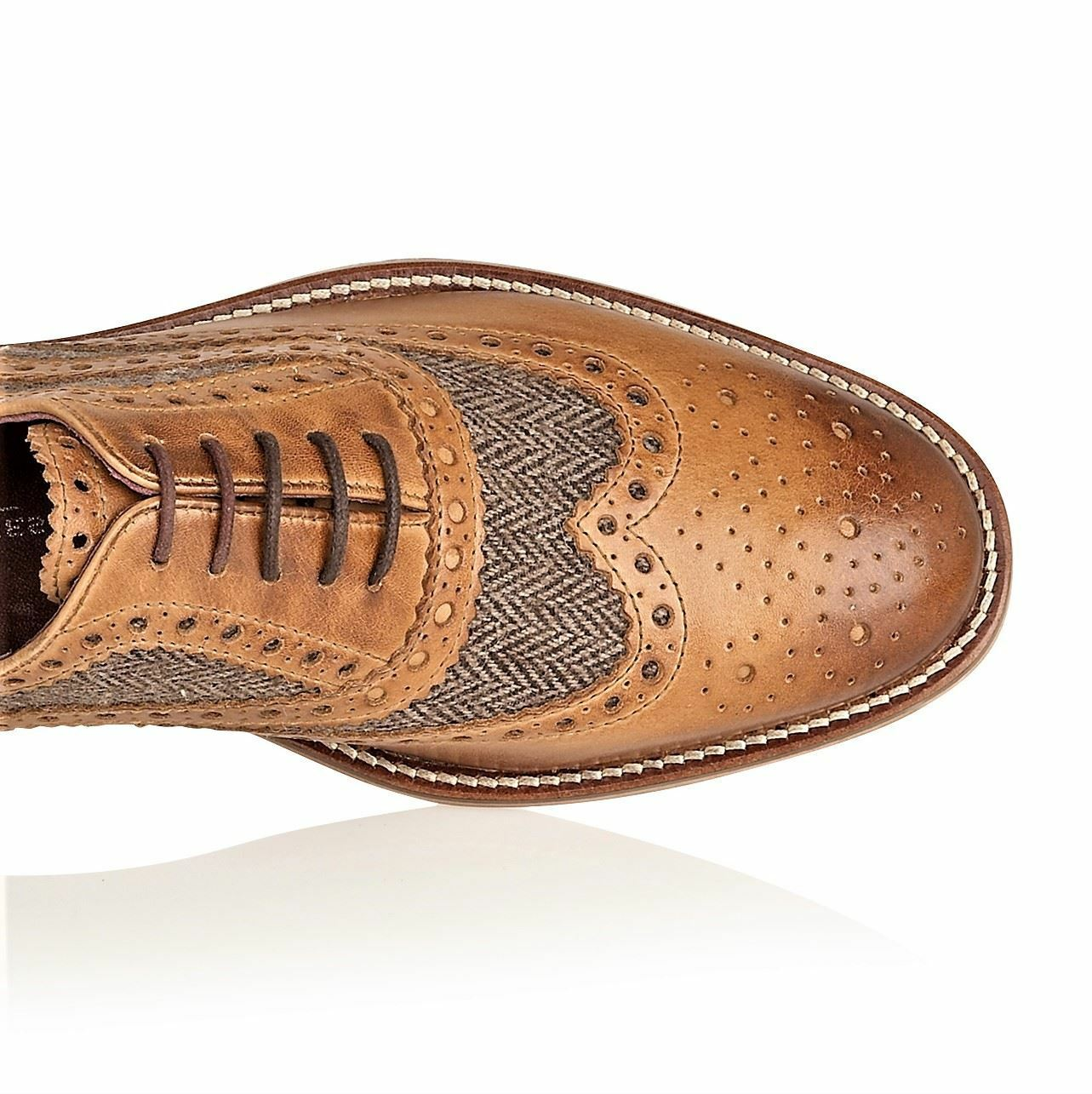 London Brogues Watson Leather Sole Mens Mens Mens Lace Up Formal schuhe Tan   Tweed df1cc0