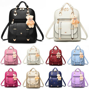 23028a5773ae Image is loading Women-Girls-PU-Leather-Rucksack-Lady-Bag-Shoulder-