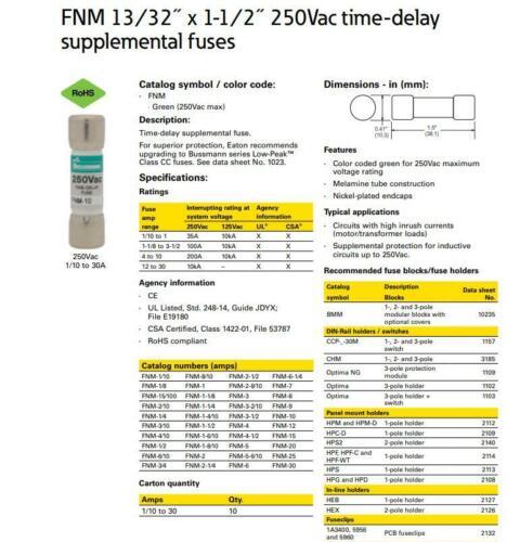 1PC Bussmann FNM-10(FNM 10) 10 Amp 250Vac Time-delay Supplemental Fuses