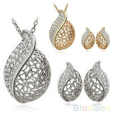 New Women Lover Hollow Leaf Gold Plated Rhinestone Necklace Earrings Set