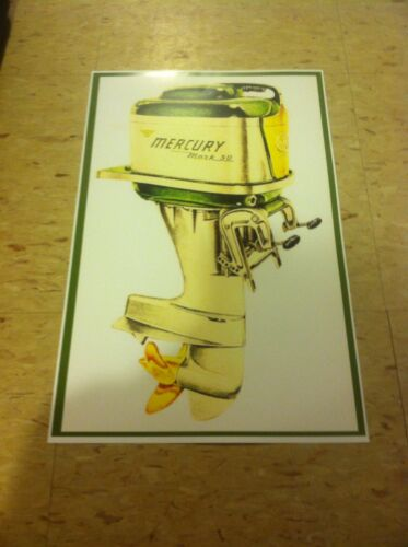 Vintage Mercury Boat Outboard  Advertisement Poster Man Cave Gift Art Decor