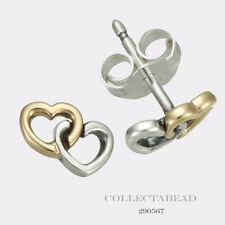 Authentic Pandora Silver & 14K Gold Heart to Heart Stud Earrings 290567 *LAST 1
