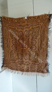 VINTAGE-ANTIQUE-COLORFUL-FOLKLORE-ARTS-amp-CRAFTS-DUTCH-PAISLEY-SHAWL-034-BIETKLEED-034