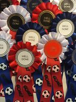 10 X Well Done Rosettes With Goal Football Ribbon