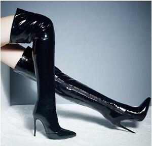 Sexy-Womens-Patent-Leather-Stiletto-High-Heel-Club-Dancing-Over-Knee-Thigh-Boots