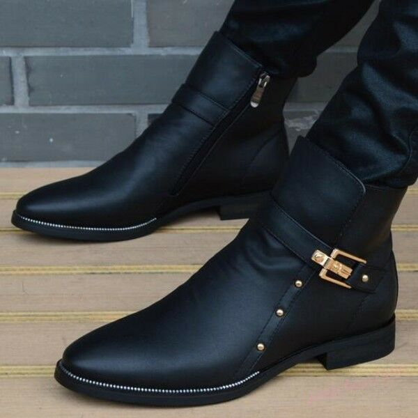 Faux Leather Buckle Rivet Shoes Mens Pointed Toe Pull On Motorcycle Ankle Boots