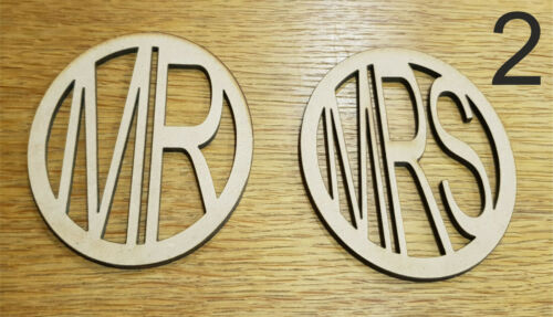 2 x Wooden MDF Plain Coasters 12cm Yours Mine Mr Mrs His Hers Couples Gift