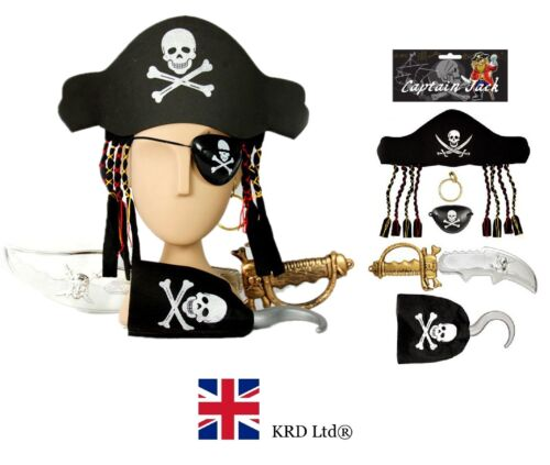 5Pcs enfants pirate fancy dress costume set chapeau crochet boucle d'oreille oeil cutlass kit afficher le titre d'origine