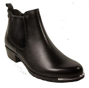 check out 40666 cda65 Details zu CAPRICE Schuhe Chelsea Boots Stiefeletten Schwarz echt Leder NEU