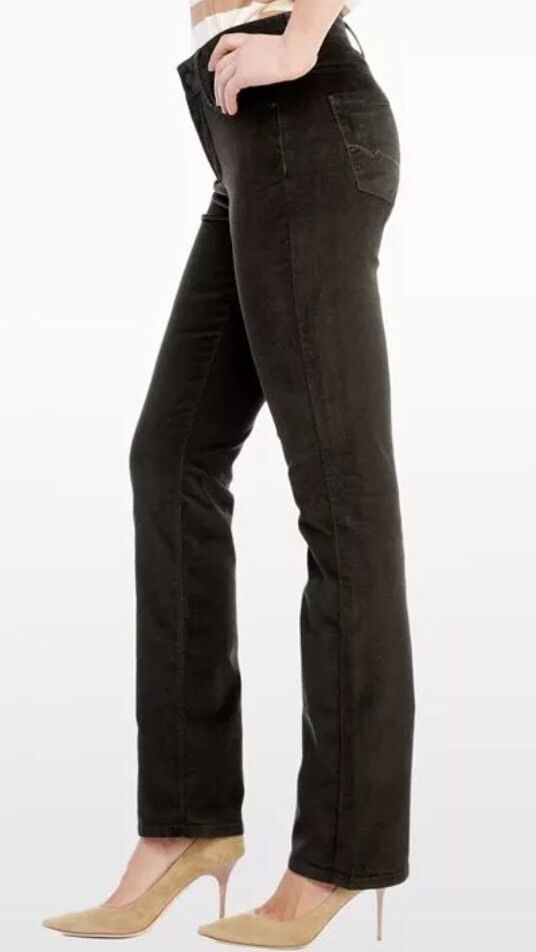 16 NYDJ Not Your Daughters Jeans Pants Marilyn Straight MOLASSES Brown Corduroy