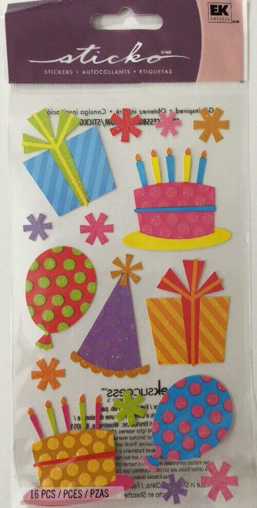 16pc Sticko•Presents•Gift Cake•Birthday•Hat•Glitter FUN PARTY /& BALLOON Sticker