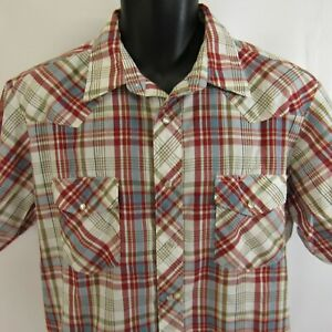 Wrangler-Pearl-Snap-Plaid-Shirt-L-Western-Rockabilly-Rodeo-Short-Sleeves-Large