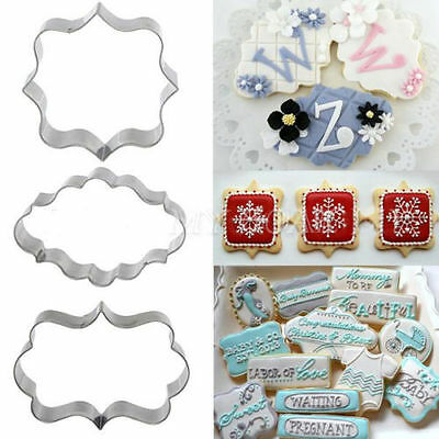 3Pcs Plaque Frame Cutter Mould Cookies Biscuit Fondant Cake Chocolate Decorating