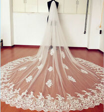 123v Bridal Cathedral Length 3m Embroidered Lace Edge Ivory Wedding Veil w Comb