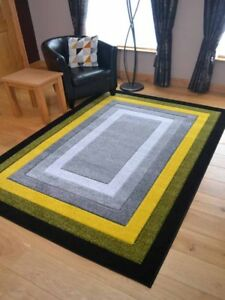 Details About New Modern Thick Soft Grey Silver Bright Yellow Floor Mats Rugs Plain Border Uk