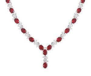 Acabado-De-Oro-Blanco-Rojo-Rubi-Y-Diamantes-Creados-Collar-de-gastos-de-envio-gratis