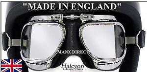 Hand-Made-Halcyon-Mark-9-Compact-Deluxe-Goggles-Brown-Use-With-Open-Face-Helmet
