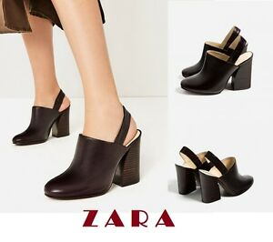 ca6a269838f ZARA Cow Leather Slingback High Heel Shoes US Sizes  6.5